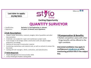 Quantity Surveyor// Agriculturalist - Stylo Group- | Jobs in Karachi|| Jobs in Stylo|| Jobs in Pakistan|