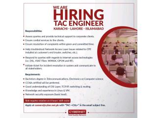 TAC ENGINEER - CYBERNET - | Jobs in Karachi|| Jobs in Islamabad| | Jobs in Lahore|