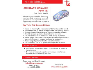 ASSISTANT MANAGER PD & PE - Thal engineering - | Jobs in Karachi| | Jobs in Thal Engineering|