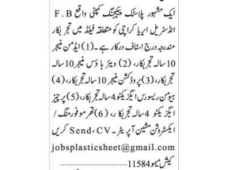 Admin Manager// WareHouse Manager// Production Manager// HR Executive// Purchase Executive// Thermoforming Extroversion Machine - |Jobs in Karachi|