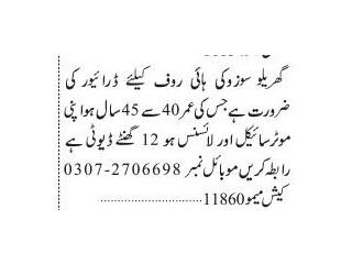 Driver ( Suzuki High Roof) - | Jobs in Karachi|| Jobs in Pakistan| | Driver Jobs in Karachi|
