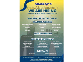 CHASE UP MULTIPLES VACANCIES ( NEW STORES IN KARACHI) - | Chase Up Job in Karachi| | Jobs in Karachi