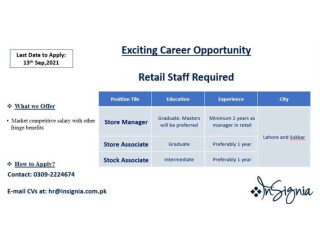 STORE MANAGER // STORE ASSOCIATE // STOCK ASSOCIATE- | Insignia- | Jobs in Lahore|| Jobs in Faisalabad|