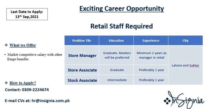 store-manager-store-associate-stock-associate-insignia-jobs-in-lahore-jobs-in-faisalabad-big-0