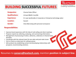 IT Resident Engineer // Office Credit Collection & Control// Channel Sales Officer -TexI Tech- | Jobs in Karachi|