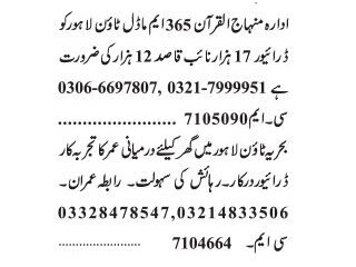 DRIVER // NAIB QASID - | Jobs in Lahore|| Latest Jobs in Lahore 2021|