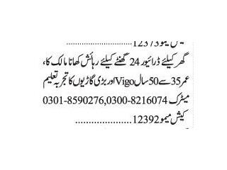 Driver ( 24 Hours)- | Jobs in Karachi|| Vigo Car Driver Jobs|| Driver Jobs in 2021|