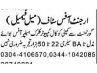 Urgent Female/Male Staff required ( Helper//Office Boy//Comp clerk)