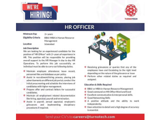 HR Officer required