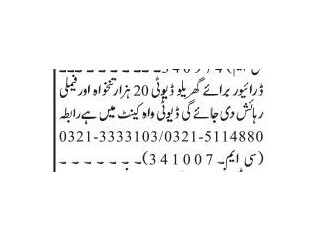 DRIVER Domestic - |Jobs in Islamabad Driver Jobs in Rawalpindi Driver Jobs in Islamabad|