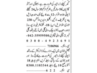 DRIVERS ( 2 Positions)- |driver jobs lahore||driver job in lahore 2021|