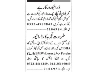 DRIVER ( 3 Positions)- | Jobs in Lahore| Driver Job in Lahore 2021||House Driver Jobs in Lahore 2021|