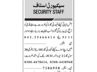 Security Guard (10 Positions)// Civil Guard(20 Positions)// Supervisor JCO(2 Positions)- ||security guard jobs in Karachi|