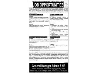 HR Assistant// HR Assistant// Assistant Manager Technical// Chief Internal Auditor- NATIONAL POWER PARKS MANAGEMENT COMPANY-|Latest Jobs in Pakistan|