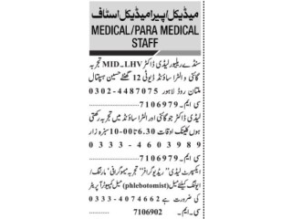 Lady Doctor// LHV MID// GYNEA //Ultrasound//Phlebotomist// Computer Operator//Lady RadioGraphy -|Medical jobs in Pakistan||Medical officer Jobs |