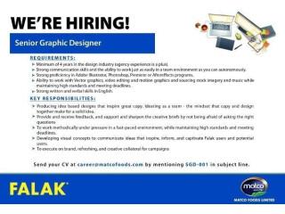 Senior Graphic Designer - Falak Matco Foods Limited- | Jobs in Karachi| Graphic Designer Jobs||Graphic Designer Jobs Karachi|