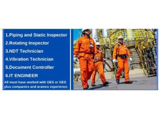 IT Engineer // Piping & Static Inspector // NDT Tech // Rotation Inspector // Technical Clerk/Document Controller // Vibration Tech - SAUDIA ARBIA KSA