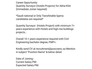 Quality Surveyor // Sr Planning Engineer (Hotel Projects) - Abha Saudia