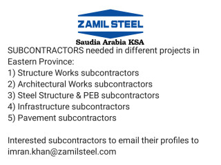 Subcontractors , Structure Works // Architectural Work // Steel Structure & PEB // Infrastructure // Pavement